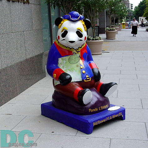 "A tribute to the planner of the District of Columbia, ""Panda L'Enfant"" comes complete with a detailed map of the surveyed land set aside for our nation's capital. Kid Power-DC painted this vibrant piece located at 1213 K Street."