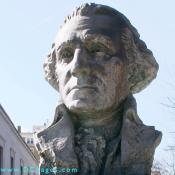 Bust of George Washington is located in the North garden of the Supreme Council Building.