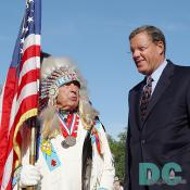 Senator Ben Nighthorse Campbell (left) and Smithsonian Secretary Lawrence M. Small (right)