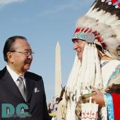Senator Daniel K. Inouye (left) and Director of the National Museum of the American Indian W. Richard West (right).