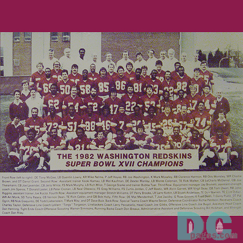 The 1982 Washington Redskins Super Bowl XVII Champions.