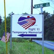 Sign directing visitors to the temporary Memorial of Flight 93.