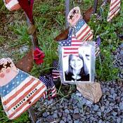These patriotic angel dolls have been placed at the memorial with names of the victims of Flight 93.